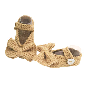 Crochet Baby Girl Mary Jane Booties in Sand Brown (Infant)