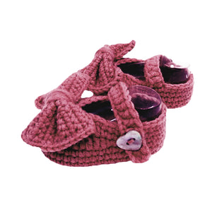 Crochet Mary Jane Booties in Plum Purple