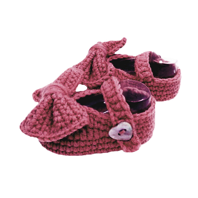 Crochet Mary Jane Booties in Plum Purple (Infant)