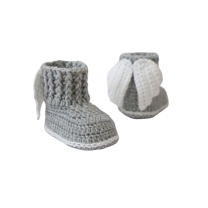 Newborn Crochet Angel Booties in Grey