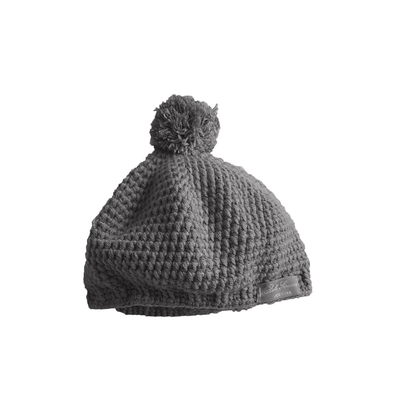 Crochet Pom Pom Hat in Charcoal Gray