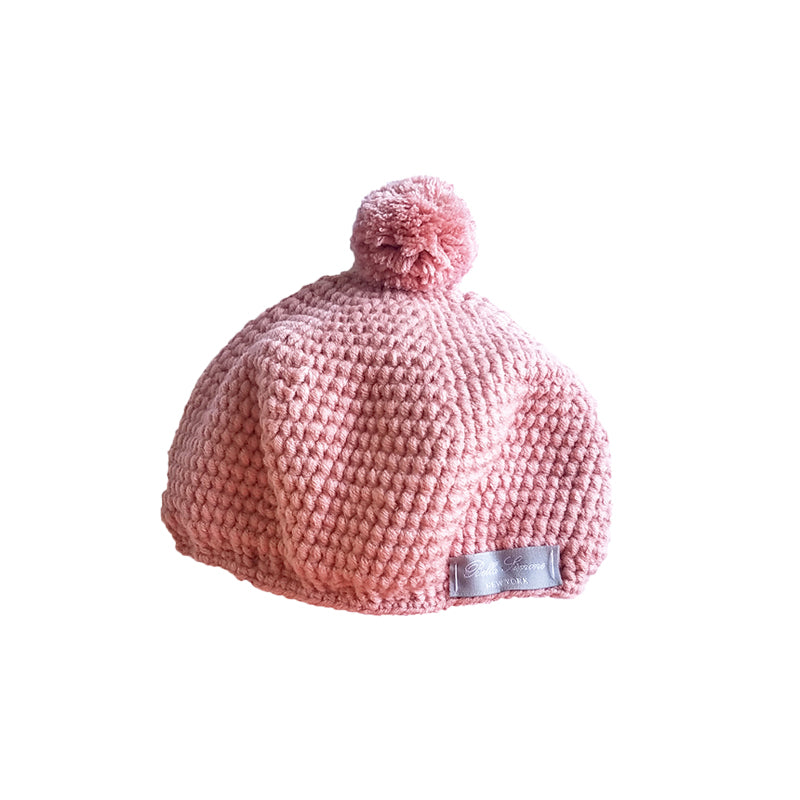 Crochet Pom Pom Hat in Rose Pink