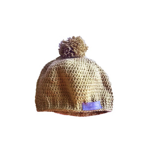 Crochet Pom Pom Hat in Sand Brown