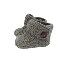Load image into Gallery viewer, Crochet Baby High Top Booties in Charcoal Gray