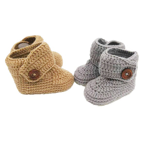 Crochet Baby High Top Booties in Sand Brown