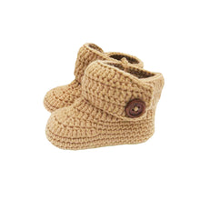 Load image into Gallery viewer, Crochet Baby High Top Booties in Sand Brown