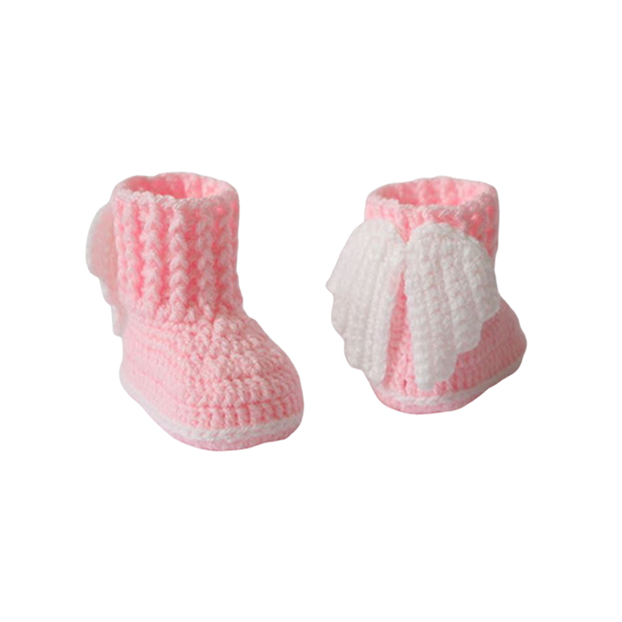 Newborn Crochet Angel Booties in Pink