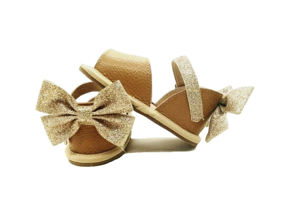 Leather Sandals in Brown with Glitter Bow (Infant/Toddler/Little Kid)