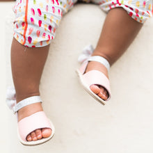 Load image into Gallery viewer, Leather Sandals in Pink with Glitter Bow
