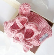 Load image into Gallery viewer, Crochet Baby Mary Jane Booties & Hat Gift Set in Rose Pink