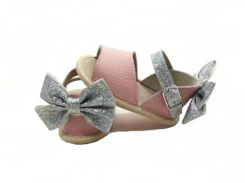 Leather Sandals in Pink with Glitter Bow (Infant/Toddler/Little Kid)