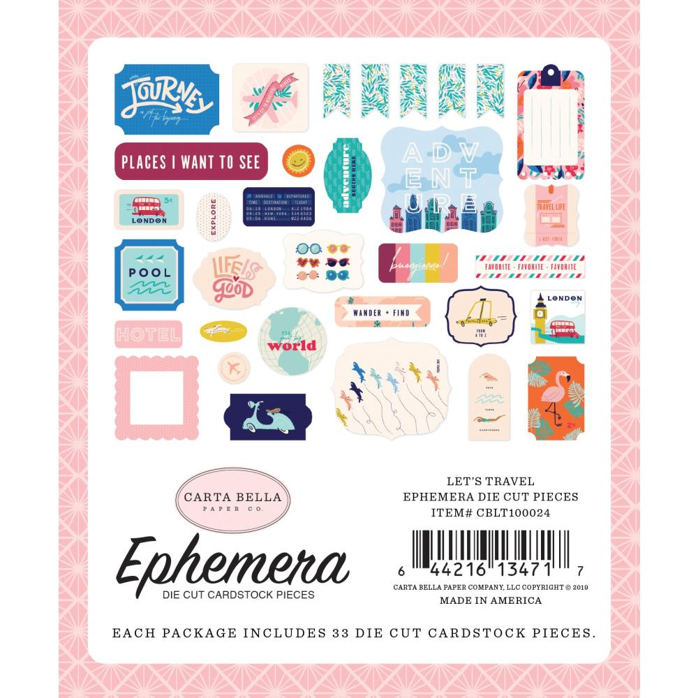 Carta Bella Cardstock Ephemera 33/Pkg - Let's Travel Icons