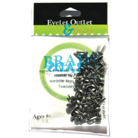 Eyelet Outlet Round Brads 4mm 70/Pkg - Brushed Silver