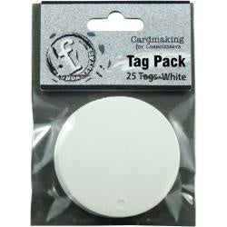 "Fundamentals Circle Tags 25/Pkg 2"" - White"