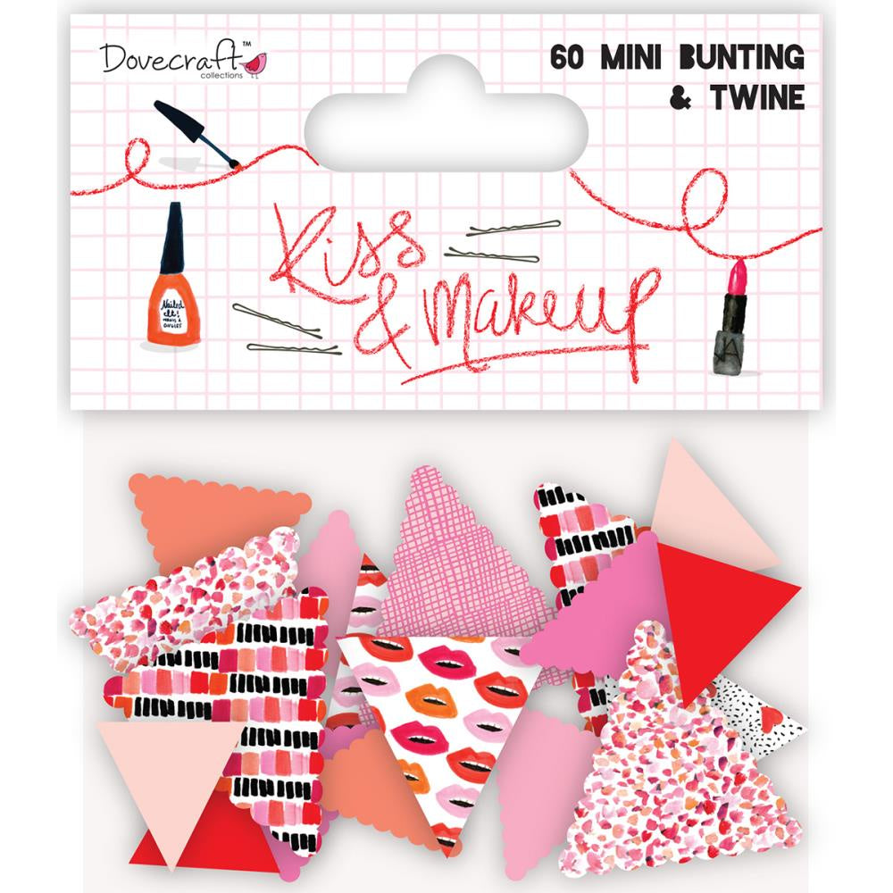 Dovecraft Kiss & Make Up Mini Bunting - 60 Pennants & Twine