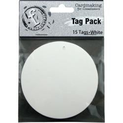 "Fundamentals Circle Tags 15/Pkg 3"" - White"