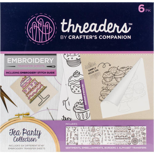 "Crafter's Companion Threaders Embroidery Transfer Sheets 8""x8"" - Tea Party"