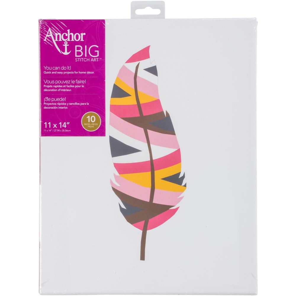"Anchor Big Stitch Art Embroidery Kit 11""X14"" - Feather 1"