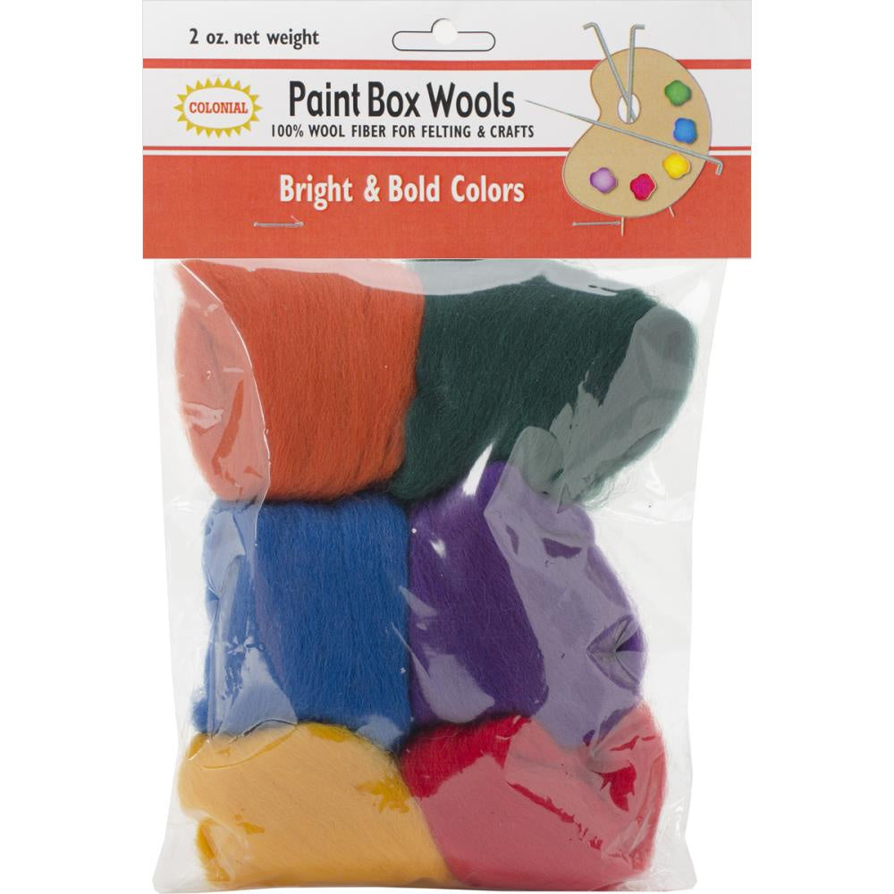 Colonial Paint Box Wools .33oz 6/Pkg - Bright & Bold -Rd/Gld/Grn/Roy/Pur/Orn
