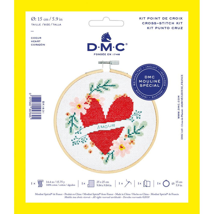 "DMC Stitch Kit 6"" Diameter - Heart"