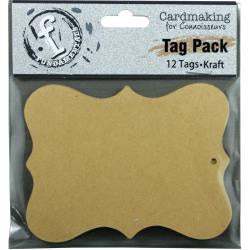 "Fundamentals Scallop Tags 12/Pkg 4.125""X3.125"" - Kraft"