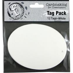 "Fundamentals Oval Tags 12/Pkg 4.125""X3.125"" - White"