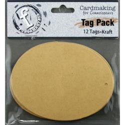 "Fundamentals Oval Tags 12/Pkg 4.125""X3.125"" - Kraft"