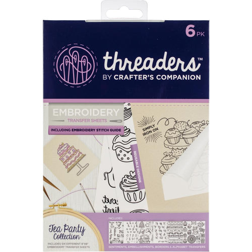 Crafter's Companion Threaders Embroidery Transfer Sheets - Tea Party