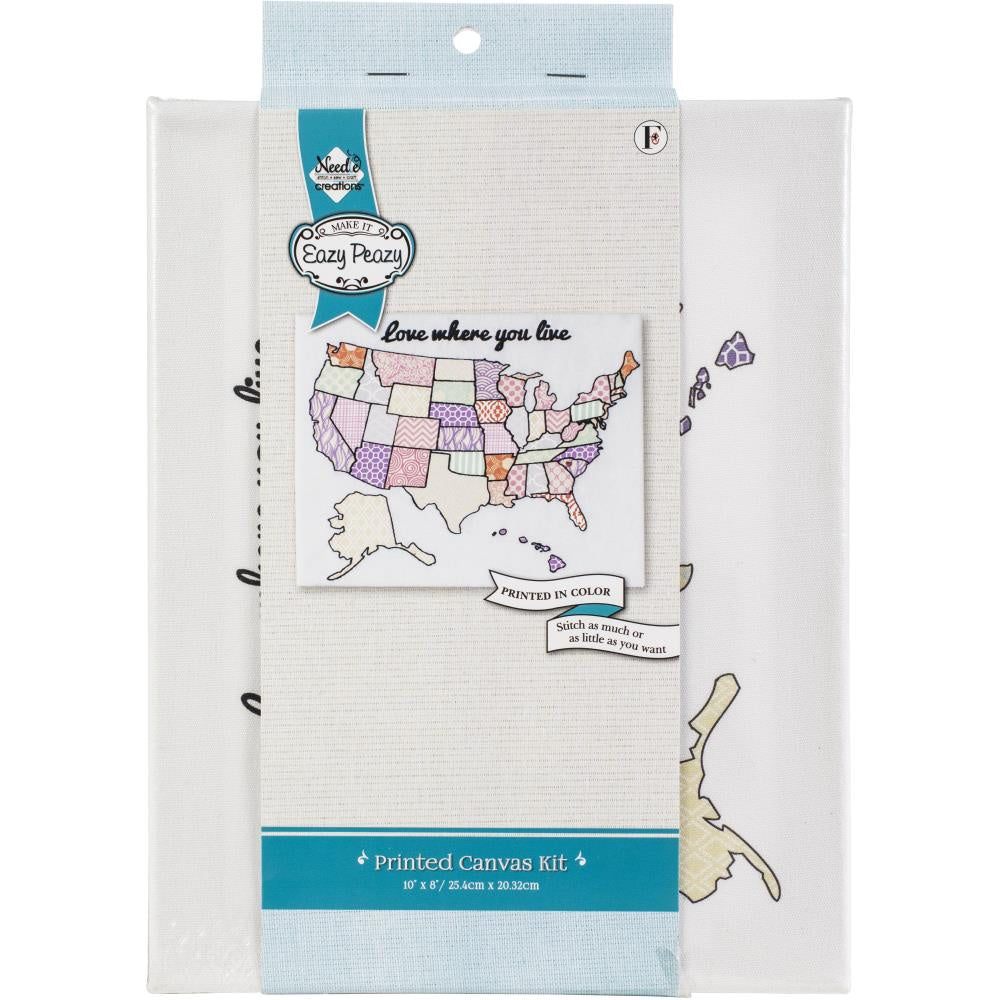 "Needle Creations Easy Peasy Embroidery Kit 8""X10"" - USA"