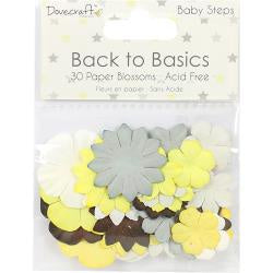 Dovecraft Back To Basics Paper Blossoms 30/Pkg - Baby Steps