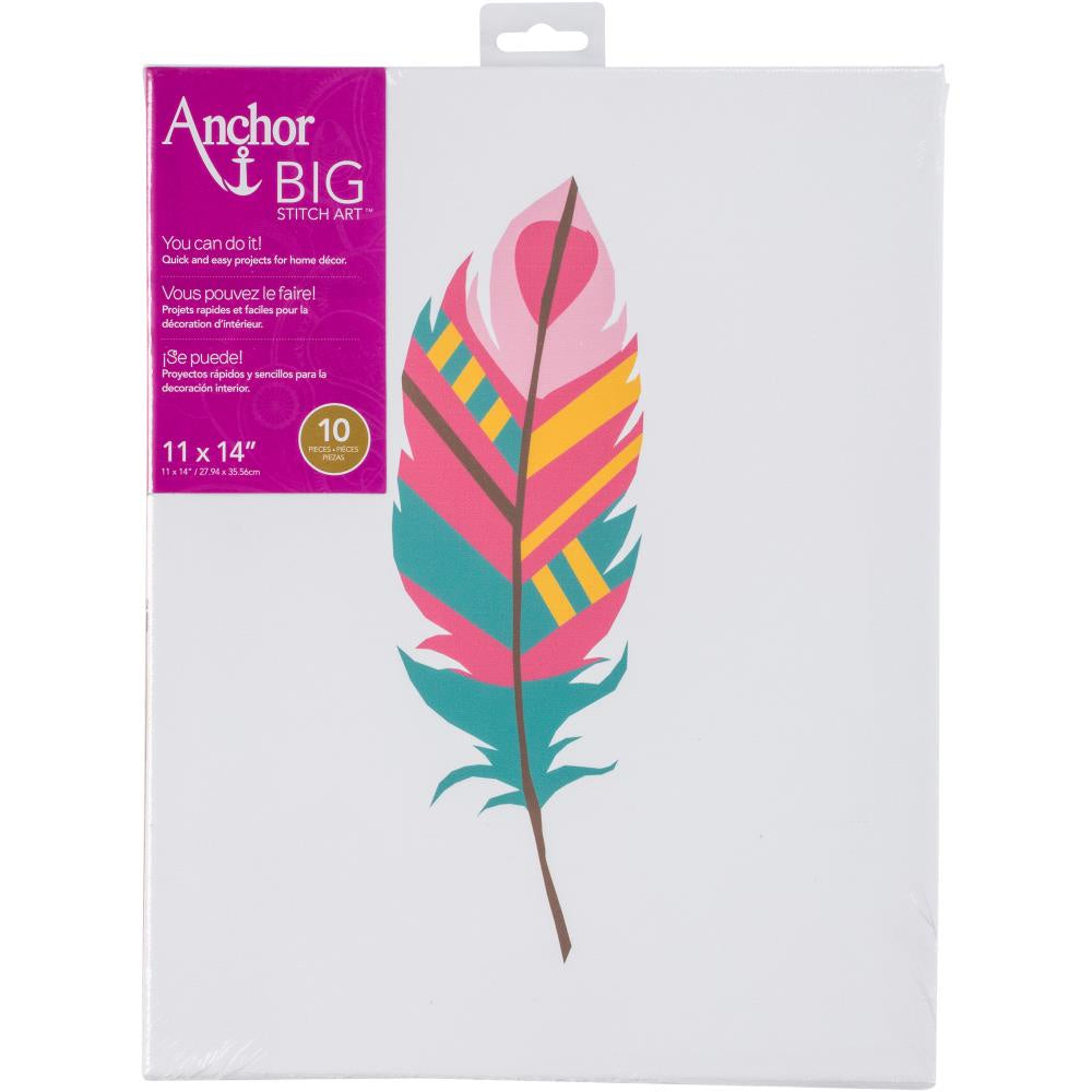 "Anchor Big Stitch Art Embroidery Kit 11""X14"" - Feather 2"