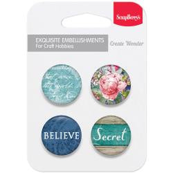 ScrapBerry's Metal Button Embellishments 4/Pkg - #2 Secret