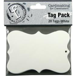 "Fundamentals Scallop Tags 20/Pkg 3.75""X2.5"" - White"