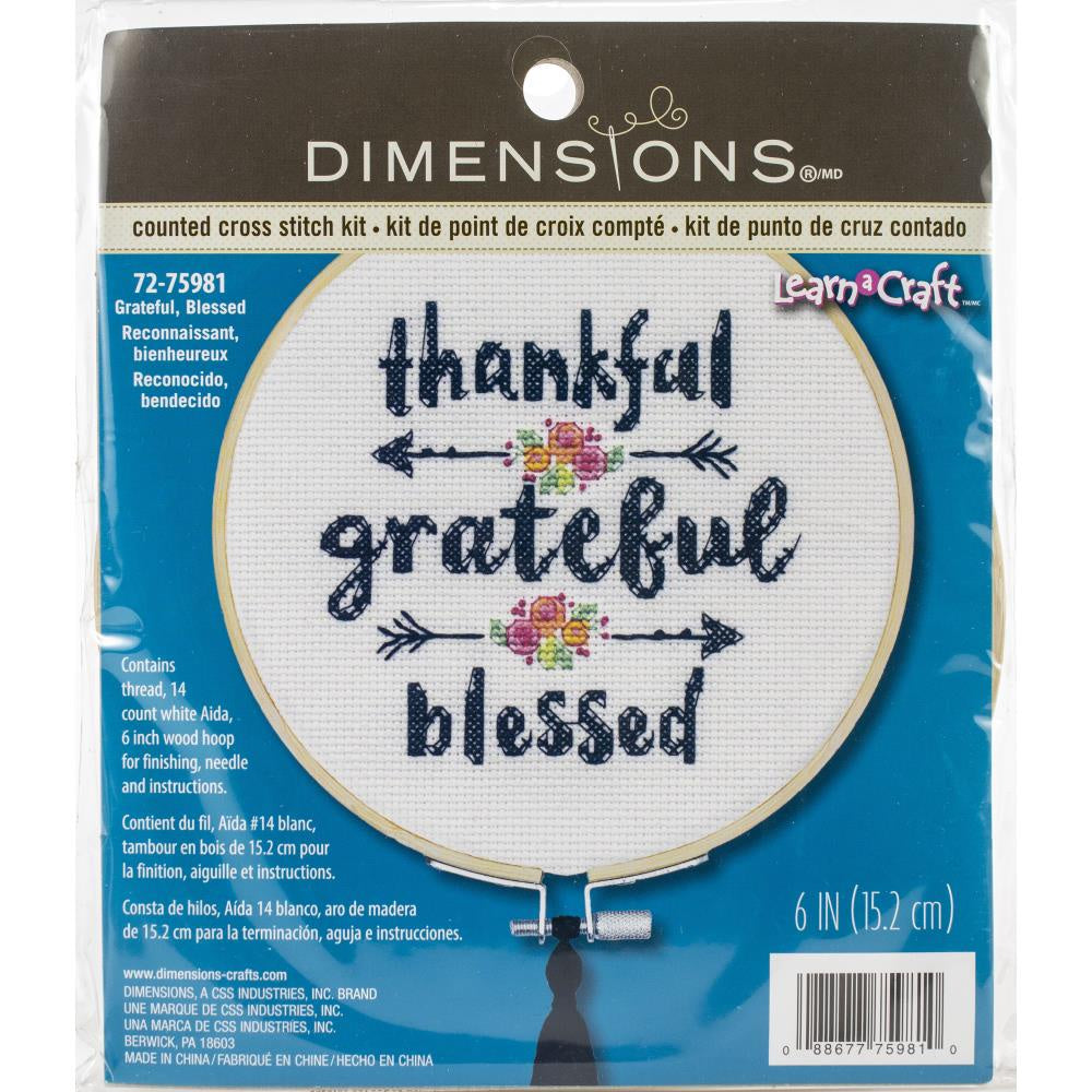 "Dimensions Counted Cross Stitch Kit W/Hoop 6"" - Grateful & Blessed"
