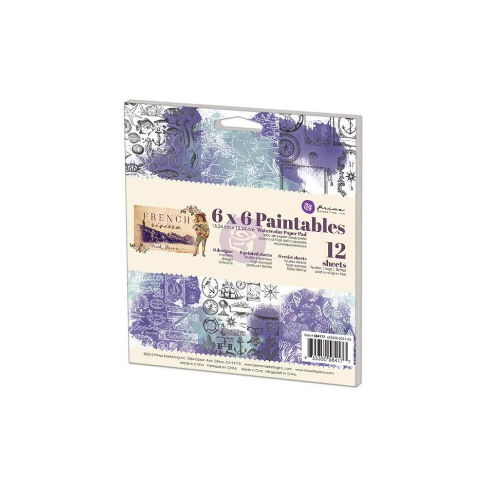 "Prima Marketing Paintables Watercolor Paper Pad 6""X6"" 12/Pkg - French Riviera"