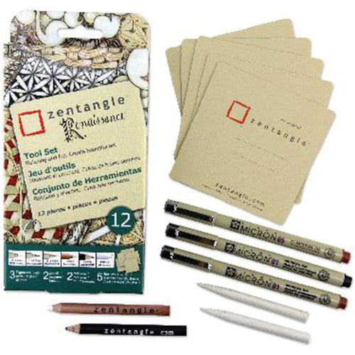 Zentangle Renaissance Tool Set 12/Pkg - Tan Tiles