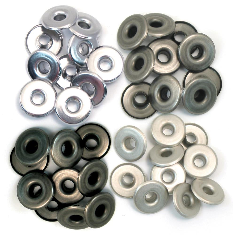 We R Eyelets Wide 40/Pkg - Cool Metal