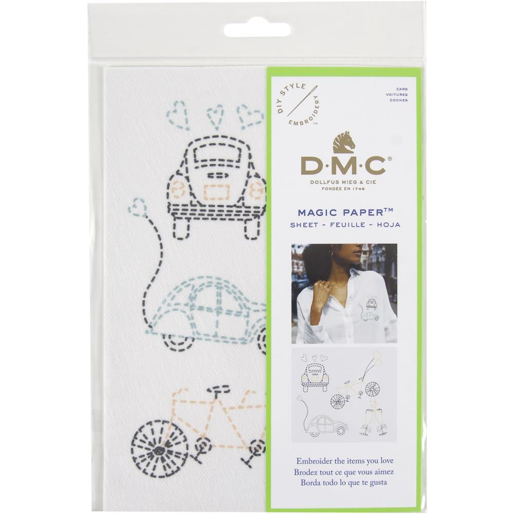 DMC Magic Paper Pre-Printed Needlework Designs - Cars - Embroidery