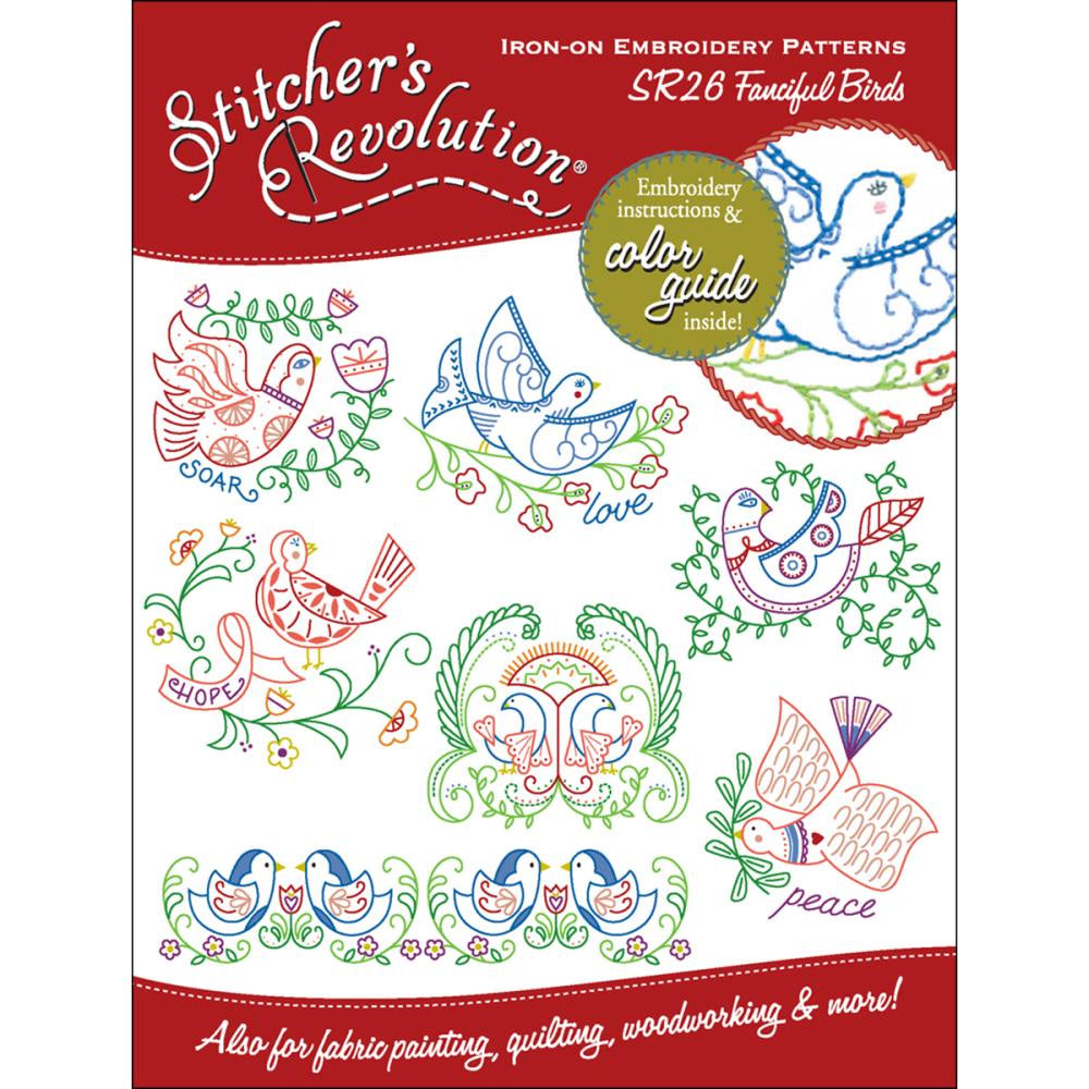 Stitcher's Revolution Iron-On Transfers - Fanciful Birds