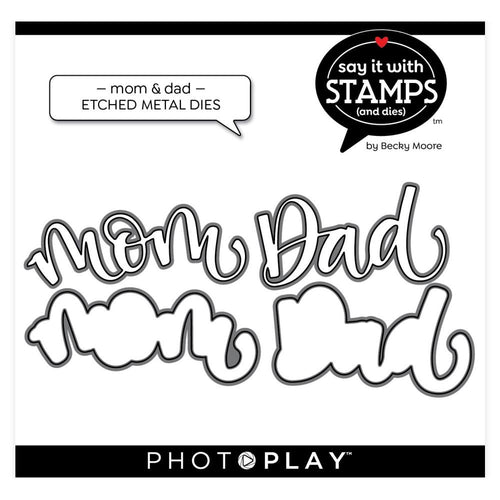 PhotoPlay Say It With Stamps Die Set - Mom & Dad
