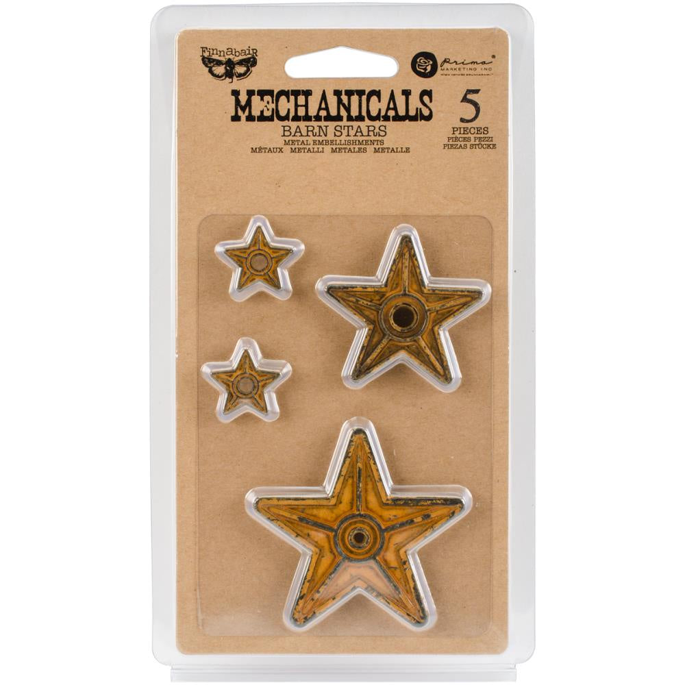 Finnabair Mechanicals Metal Embellishments - Barn Stars 5/Pkg