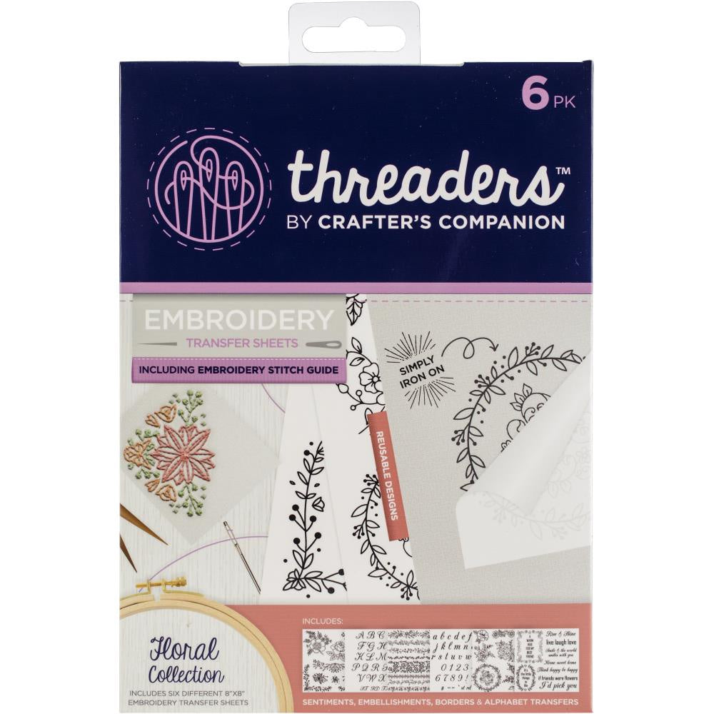 Crafter's Companion Threaders Embroidery Transfer Sheets - Floral