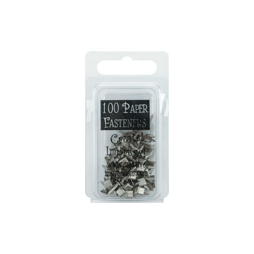 Creative Impressions Mini Metal Paper Fasteners 3mm 100/Pkg - Square - Pewter