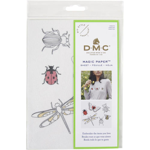 DMC Magic Paper Pre-Printed Needlework Designs - Insects - Embroidery