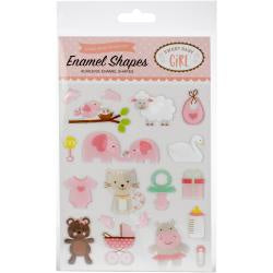 Echo Park Adhesive Enamel Shapes 19/Pkg - Sweet Baby Girl Shapes