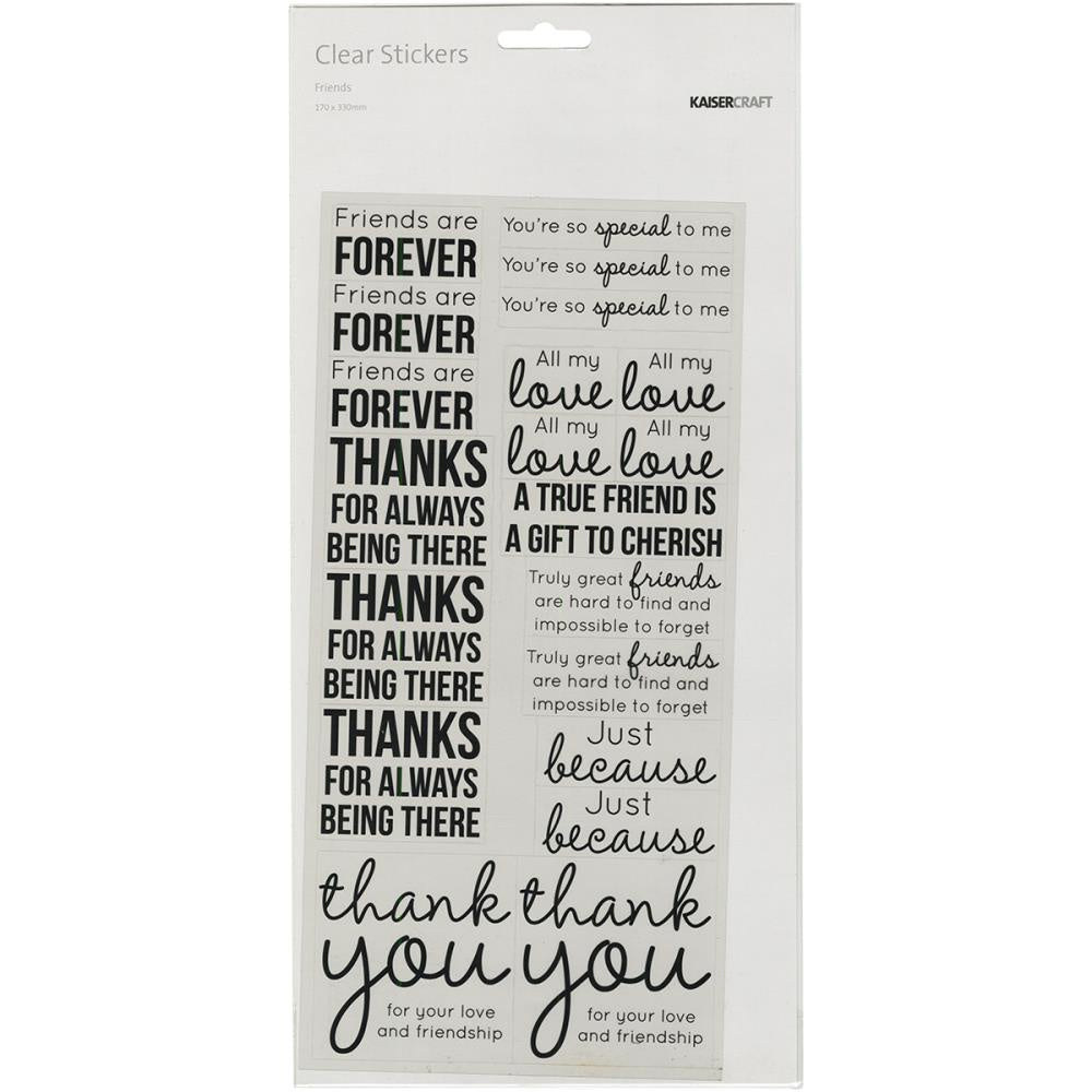 "Kaisercraft Clear Stickers 5.75""X12"" - Friends"