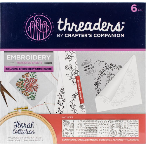 "Crafter's Companion Threaders Embroidery Transfer Sheets 8""x8"" - Floral"