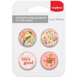 ScrapBerry's Metal Button Embellishments 4/Pkg - Life Is Good