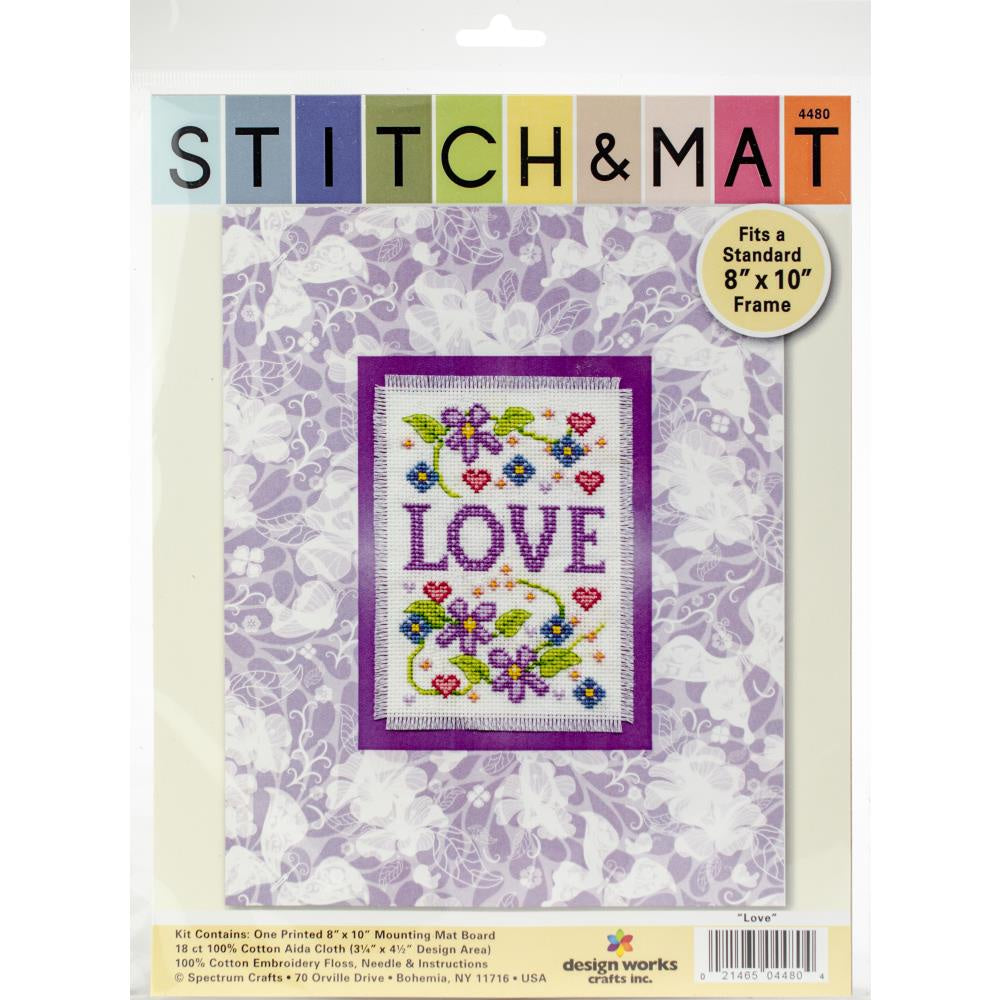 "Design Works Stitch & Mat Counted Cross Stitch Kit 3""X4.5"" - Love"