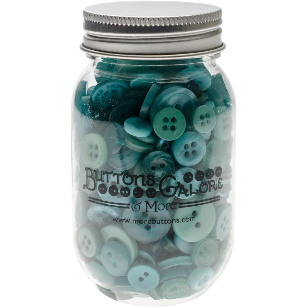 Buttons Galore Button Mason Jars - Bali Blue